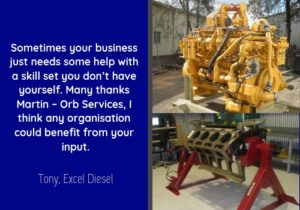 Business Plan Testimonial for Orb Services by Excel Diesel